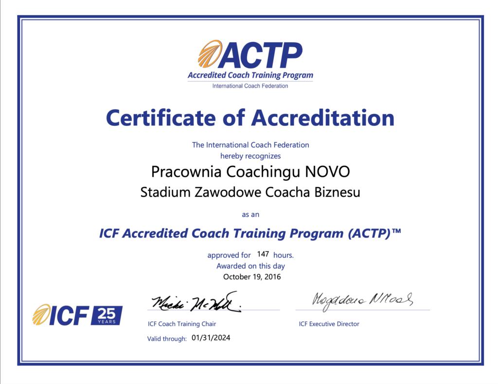 akredytowana szkoła ICF, ACTP, akredytacja coacha, coachingowa
